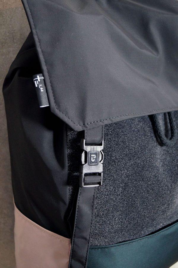 Damski kolorow stylowy plecak miejski zapięcieplecak z MCHU I PAPROCI - Stylowy damski plecak miejski na laptopa w kolorach ciemnej zieleni czarnym i różowym. Polski Handmade.