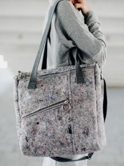JUMBLE CUBE bag .Square shape stylish handbag for women made from recycled material.