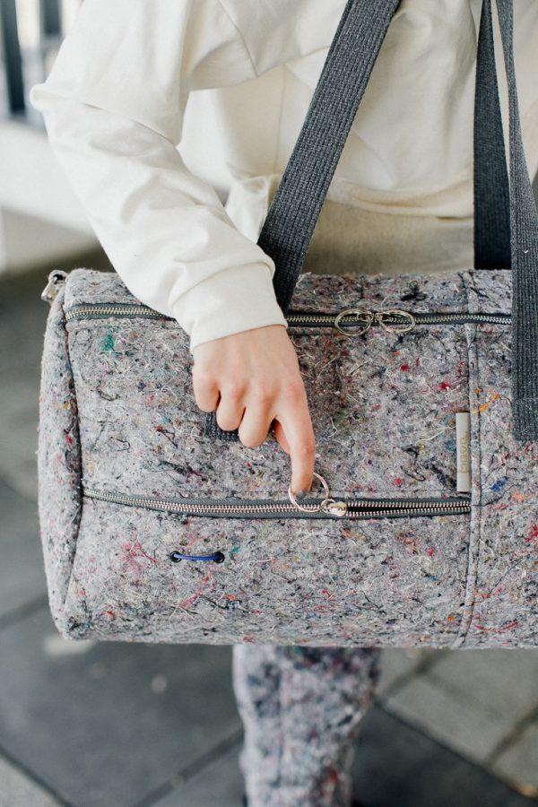 bag HORIZONTAL LINES - Stylish very large, gray female bag handmade of recykled meterial (felt) in Poland
