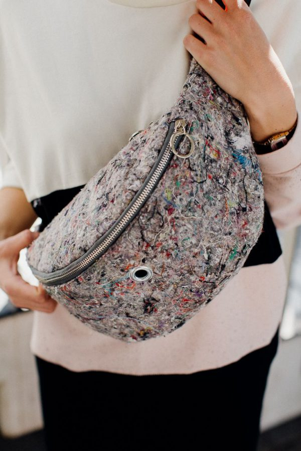 KING KONG'S HIP BAG. Hip bag xxl. Very large. Main color gray with colorful mix of recycled material - tomentum.
