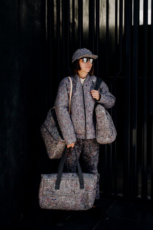 bag HORIZONTAL LINES - Stylish very large, gray female bag handmade of recykled meterial (felt) in Poland. For women.