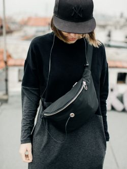 HBwM_hip bag with metal. Elegant Large black hip bag with silver elements. Stylish gift for her. .