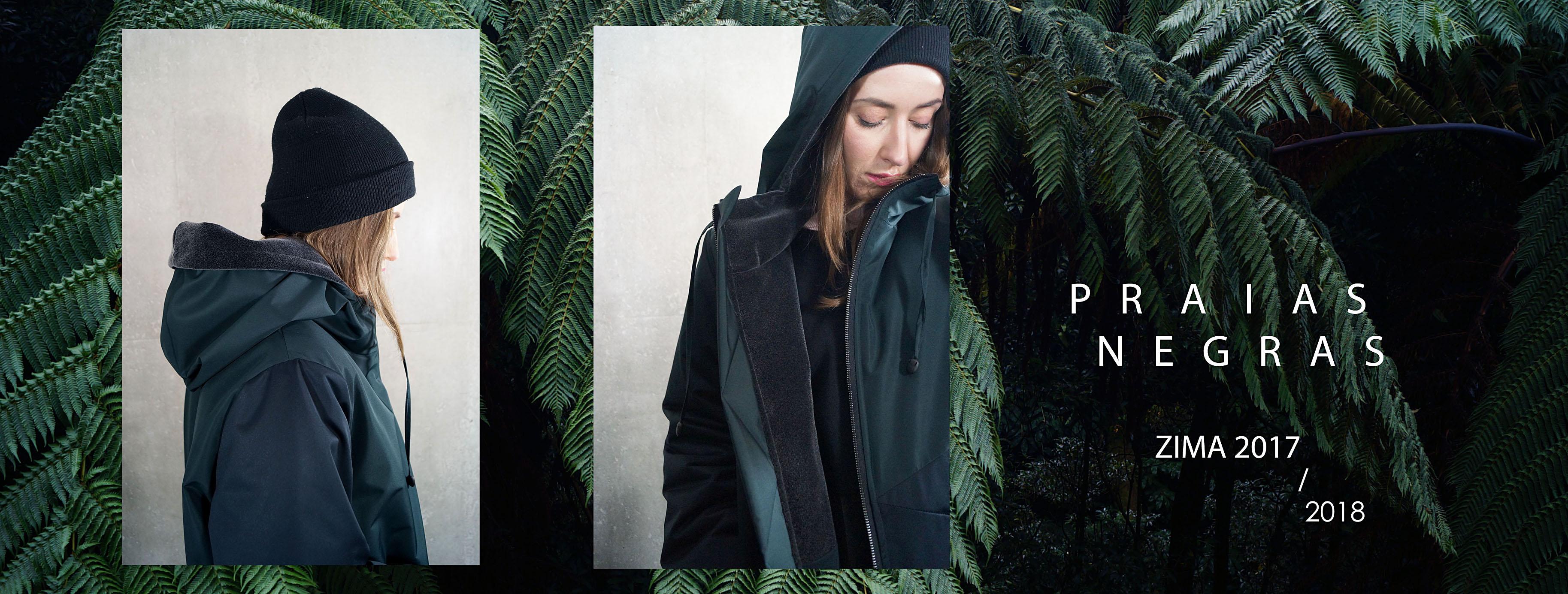PRAIAS NEGRAS. Damska stylowa ciepła zimowa kurtka z kapturem. Kolory ciemna zieleń i czarny. Handmade.