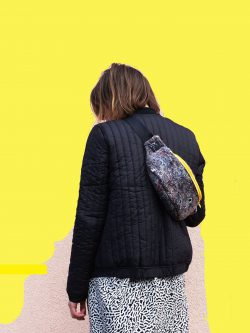 HIP BAG YELLOW. Gray hip bag with yellow elements made from recycled material. Perfect gift for her. City style. Handmade.