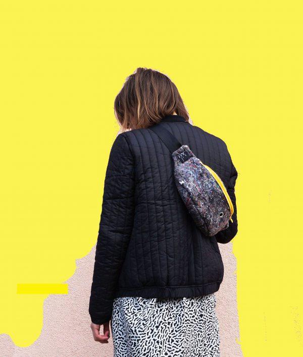 nerka WŁÓKNISTA ŻÓŁTA. Stylowa nerka z materiału z recyklingu (FIlc). Odważny design i wykonanie z dbałością o szczegóły. Zamek koloru żółtego.