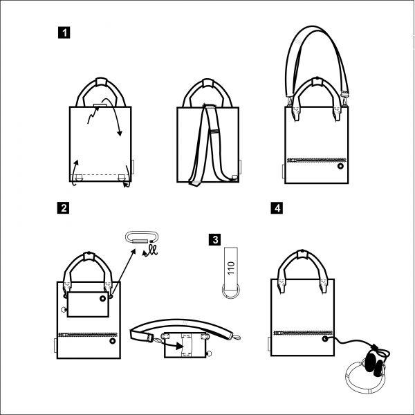 shape-shifting BAG 1. Gray back / backpack. Interesting design. Red stripes. Shape shifting. For women.