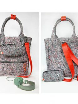 shape-shifting BAG 1. Gray back / backpack. Interesting design. Red stripes. Shape shifting. For women.