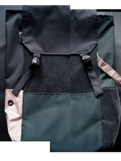 plecak z MCHU I PAPROCI - Stylowy damski plecak miejski na laptopa w kolorach ciemnej zieleni czarnym i różowym. Polski Handmade.