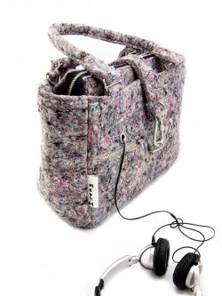 INDUSTRIAL BAG. Very Large XXL gray female bag made out of recycled material ( felt )