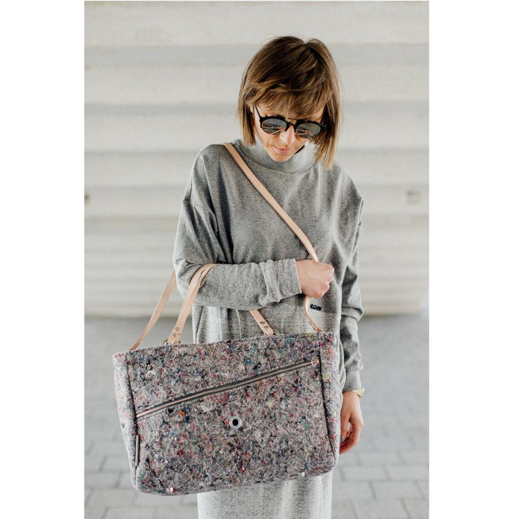 damska stylowa torba z filcu. Materiał z recyklingu. Handmade.
