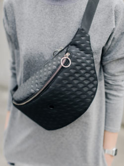 3D black hip bag. Black large hip bag for women made of 4mm tick foam with geometric 3d texture. Perfect gift for her.