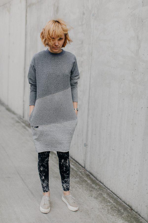 Sukienka damska SZARA TĘCZA. Damska wygodna sukienka w różnych odcieniach szarości.