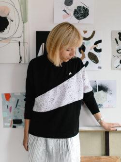 bluza VOO - Czarno biała damska bluza wykonana ze specjalnie zaprojektowanego autorskiego materiału. Polski Handmade. Pulpa + Metr64