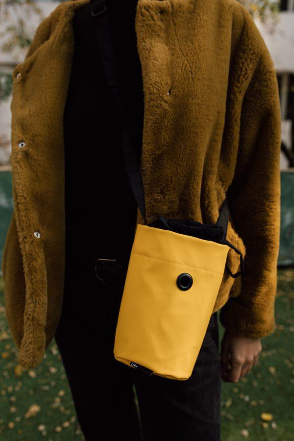 Worek nieduży SŁOŃCE. Praktyczny, lekki, żółty woreczek, na telefon, portfel i inne drobiazgi.