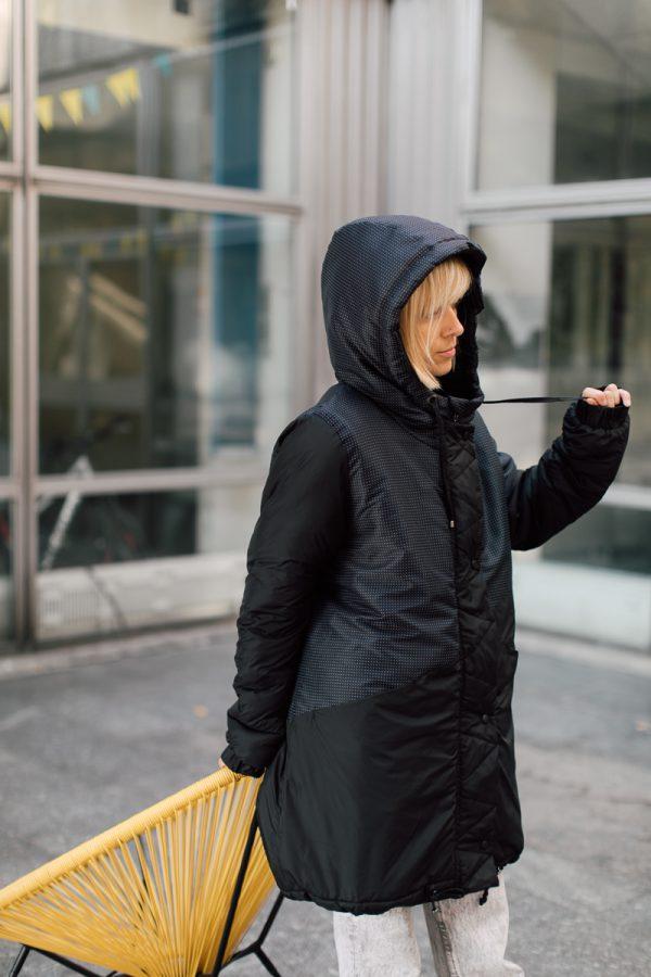 kurtka ŚNIEŻNA CHMURA. Czarna damska kurtka zimowa.