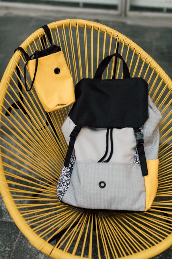 Plecak ŻÓŁTY i MAZAK. Damski miejski plecak w kolorach szary żółty i czarny