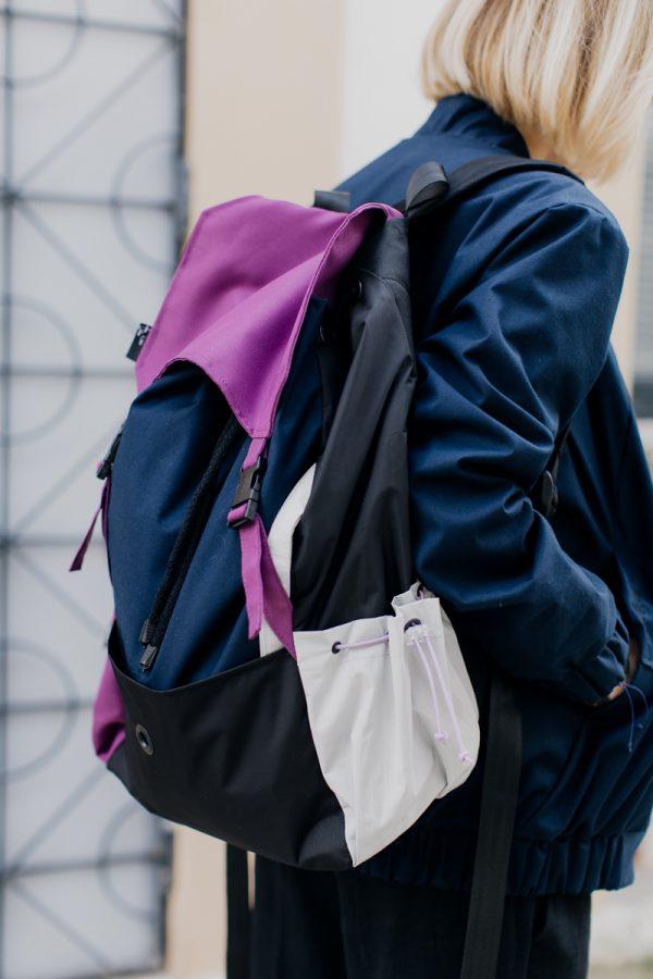 plecak Śliwka . Kolorowy, damski plecak miejski.