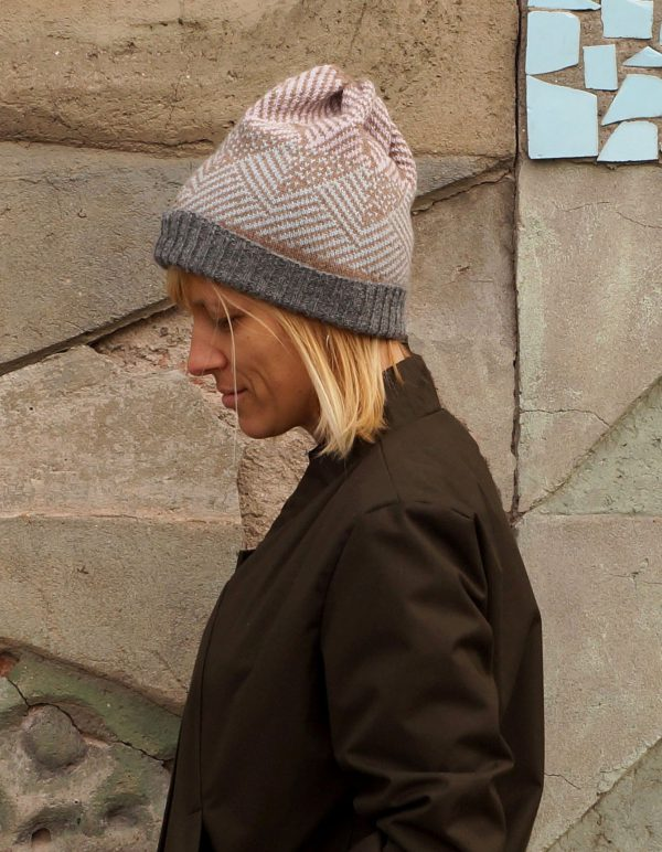PASTEL ALPAKA winter hat. Warm and comfortable hat, handmade in Poland, winter, autumn, from Alpaca wool, 100% alpaca, gray and pink hat, a perfect gift for her