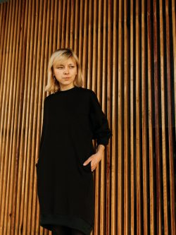 bluza długa ZAĆMIENIE damska, czarna, szyta w polsce, handmade, oversize, sukienka, tunika