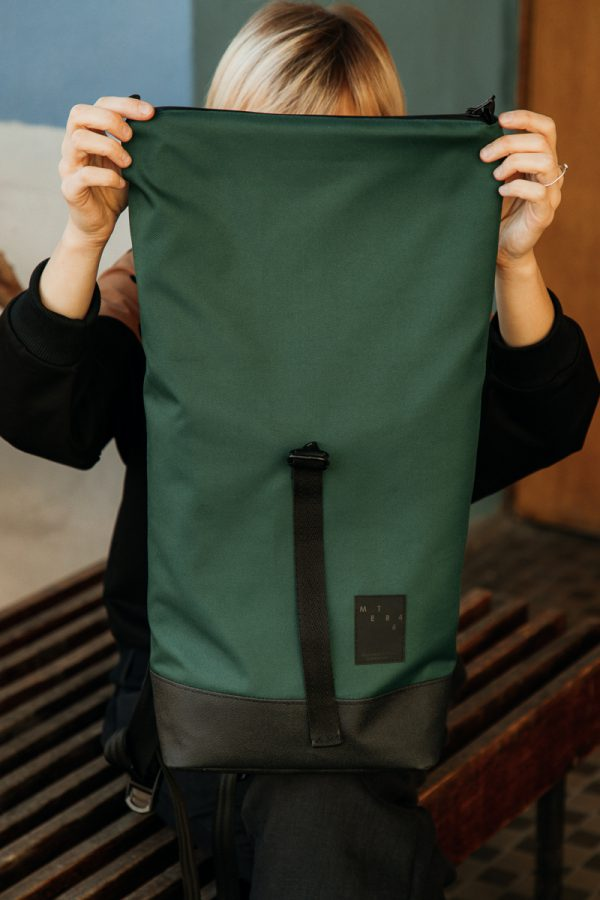 backpack GREEN, green bottle, pocket inside , comfortable, everyday use, unisex, for laptop, waterproof, handmade in poland with care.