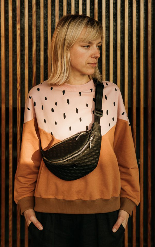 3D black hip bag - medium. Black medium size hip bag for women made of 4mm tick foam with geometric 3d texture. Perfect gift for her. Stylish and elegant. Interesting design.