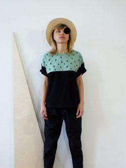 podkoszulek MIĘTOWY damski, bawełniany, czarny, mięta, szyty i projektowany w Polsce, we Wrocławiu, handmade, polscy projektanci