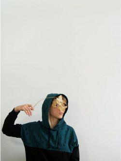 bluza ZIELONY DESZCZ damska bluza bawełniana czarna i zieleń butelkowa, made in poland, handmade, szyte ręcznie w polsce
