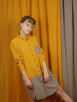 Tunika SŁOŃCE- METR64 - Bawełniana, damska, żółto szara koszula / tunika / sukienka z delikatnym czarnym wzorem w małe czarne plamki.