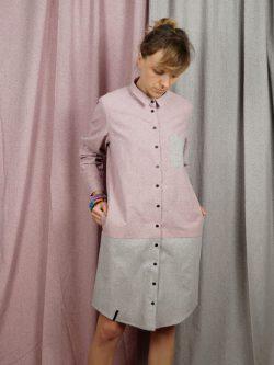 tunika RÓŻOWA - METR64 - Bawełniana, damska, różowo szara koszula / tunika / sukienka z delikatnym czarnym wzorem w małe czarne plamki. Handmade.