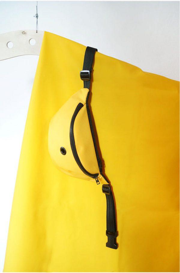 nerka SŁOŃCE. Klasyczna żółta nerka z czarnymi zamkami. Starannie wykonana z dbałością o szczegóły. Ręcznie zrobiona w Polsce. Handmade. Nieprzemakalna.