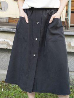 spódnica GRAFIT - Długa damska spódnica w kolorze grafitu. Szyta ręcznie w polsce. Autorskie unikatowe wzorzyste guziki.